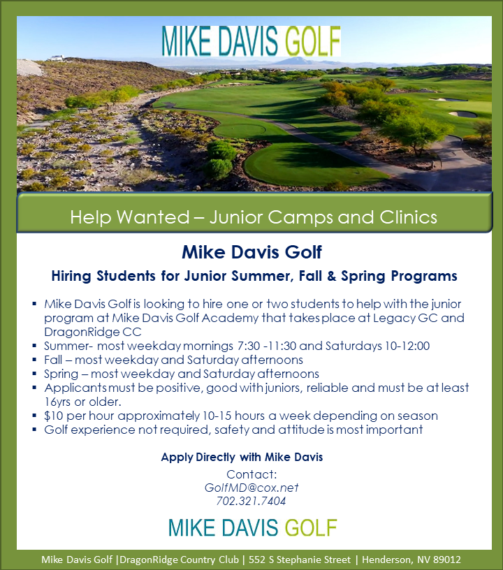 This is a flyer for the Mike Davis Golf Academy looking for student workers.